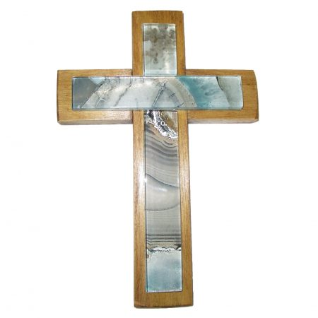 Wood and mosaic glass cross