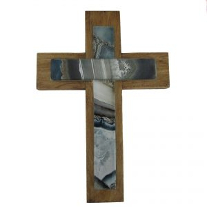 Wood cross with mosaic glass